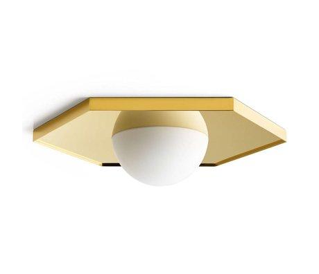 FÉST Plafondlamp Holo light hexagon brass goud metaal glas 36,5x42x8,5cm