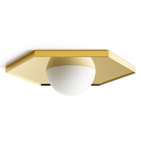 FÉST Ceiling light Holo light hexagon brass gold metal glass 36,5x42x8,5cm