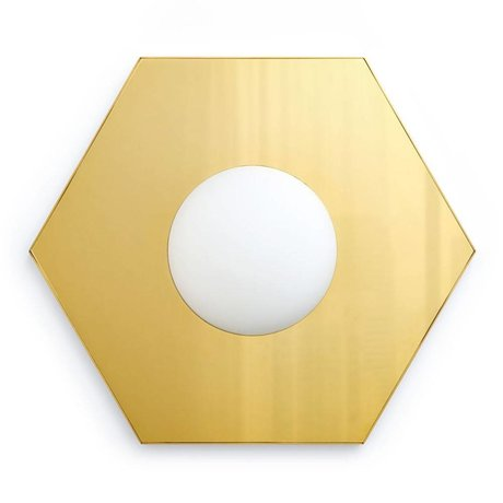 FÉST Applique murale Holo lumière hexagonale laiton doré 36,5x42x8,5cm