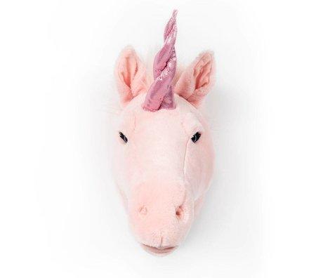 Wild and Soft Dierenkop eenhoorn Julia roze textiel 37x18x35cm
