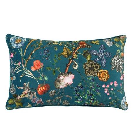 ESSENZA Throw pillow Xess petrol blue velvet polyester 30x50cm