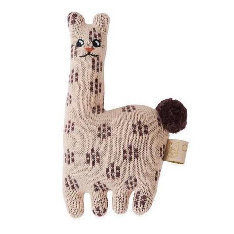 OYOY Hochet bébé lama rose coton 4,5x14cm