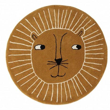 OYOY Teppich Lion brauner Wolle Baumwolle ø95cm