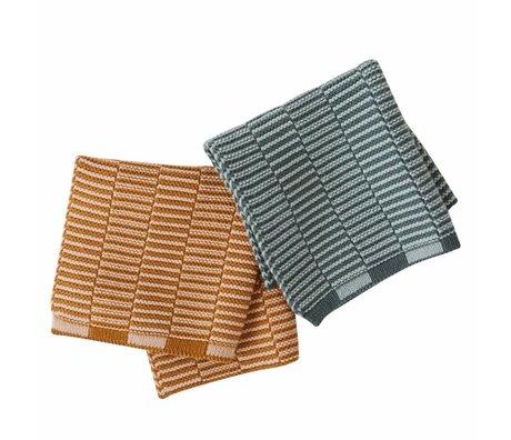 OYOY Linges à vaisselle Stringa caramel brun menthe vert set de 2 25x25cm
