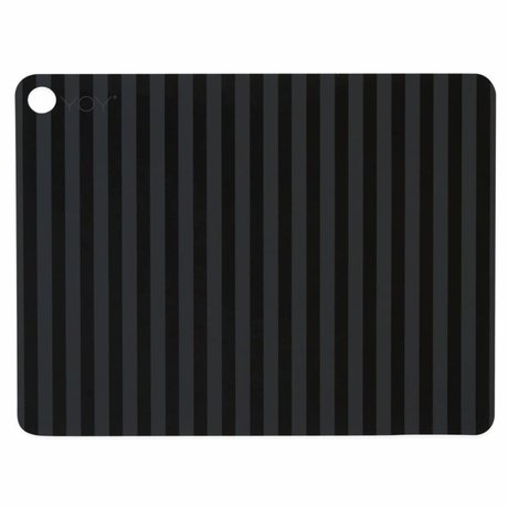OYOY Placemat Striped black silicone 45x34x0.15cm set of 2