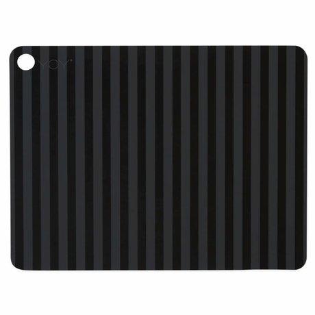 OYOY Tischset Gestreiftes schwarzes Silikon 45x34x0.15cm 2er Set