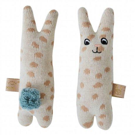 OYOY Hochet bébé lapin beige coton bleu 4,5x14cm