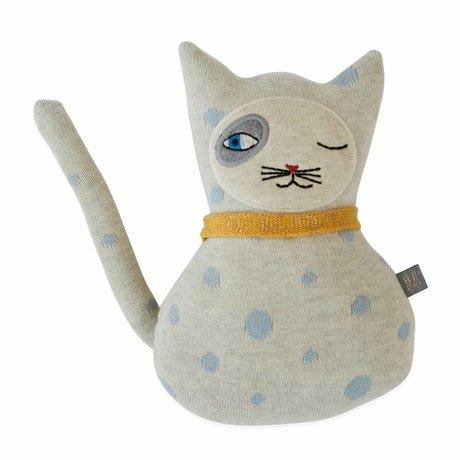 OYOY Knuffel kussen baby Benny Cat katoen 14x23cm