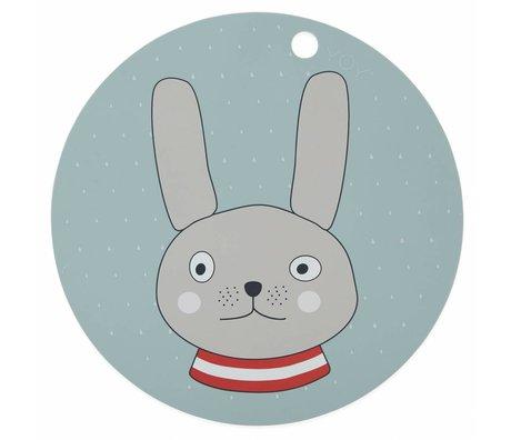 OYOY Placemat Rabbit mint groen silleconen ø39x0,15cm