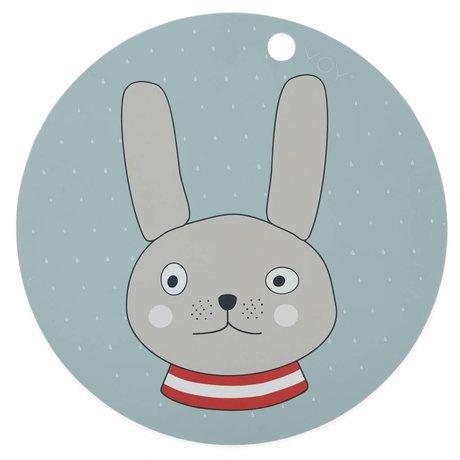 OYOY Placemat Rabbit mint green silleconen ø39x0.15cm