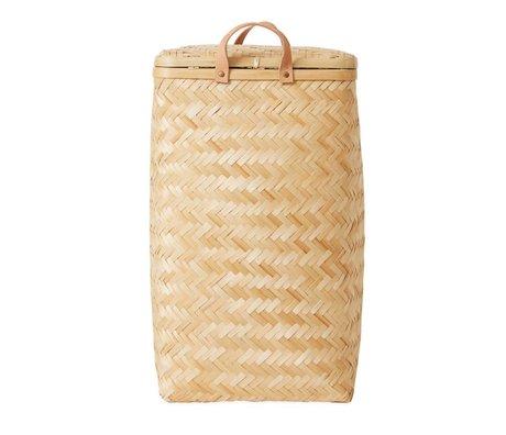 OYOY Panier à linge Sporta en bambou brun ø34x55,5cm