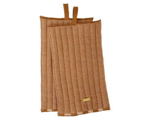 OYOY Pannenlap Stringa caramel bruin roze katoen 26x15cm set van 2