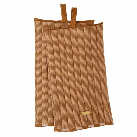 OYOY Topflappen Stringa karamellbraune rosa Baumwolle 26x15cm 2er Set