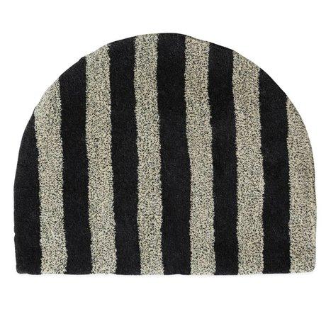 OYOY Teppich Fomu aus weiß anthrazitfarbener Wolle 77x62cm