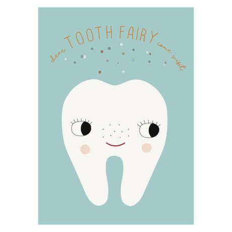 OYOY PosterTooth Fairy pale blauw wit papier 50x70cm
