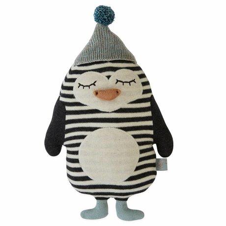 OYOY Câlin oreiller bébé Bob Penguin en coton 18x26cm