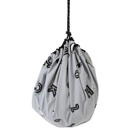 OYOY Storage bag / play mat Alphabet gray cotton canvas ø138cm