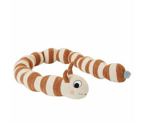 OYOY Kuschelkissen Leo Larva gebrochen weiße karamellbraune Baumwolle ø16x140cm
