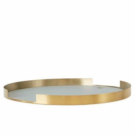 OYOY Dienblad Oka rond brass mint groen silleconen metaal ø32,5x1,8cm