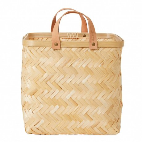 OYOY Basket Sporta square brown bamboo ø28x26cm