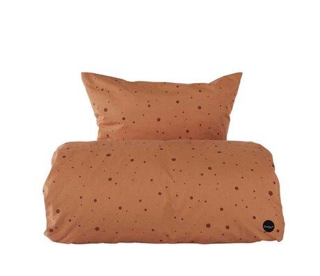 OYOY Housse de couette Dot coton marron caramel 1 personne extra longue 140x22cm