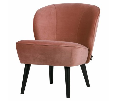 LEF collections Fauteuil sara vieux velours rose polyester 70x59x71cm