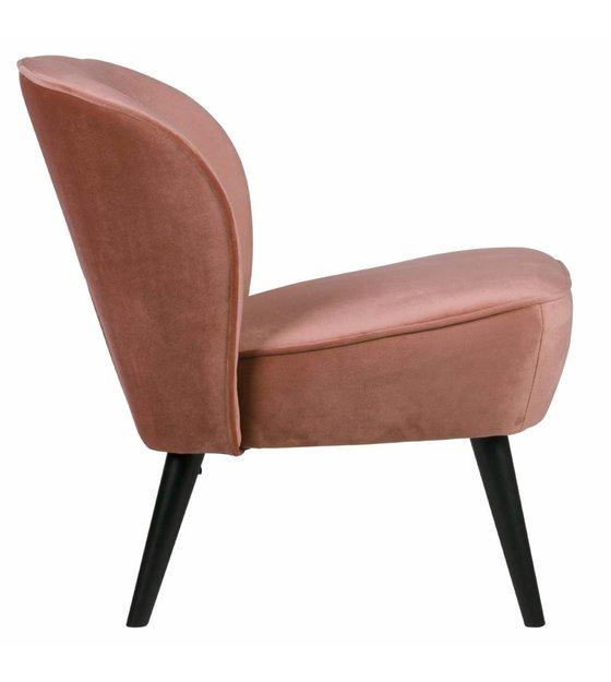 Super Fauteuil sara oud roze fluweel polyester 70x59x71cm - wonenmetlef.nl &ZQ04