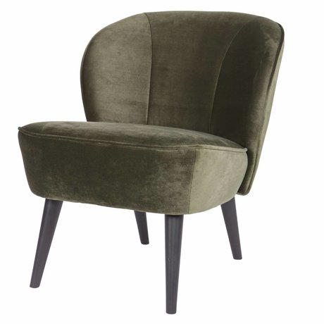 LEF collections Fauteuil sara warm groen fluweel polyester 70x59x71cm