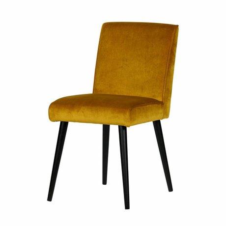 LEF collections Dining chair sara ocher yellow velvet polyester 54x47x92cm