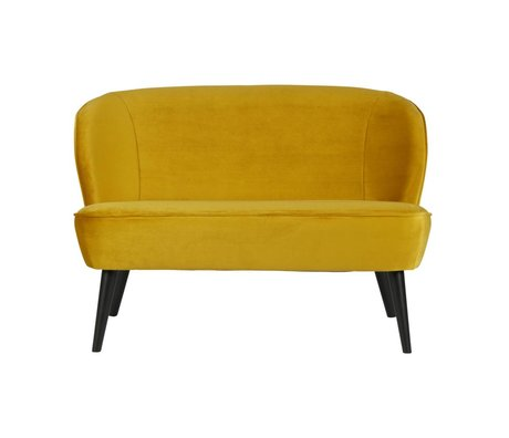 LEF collections Bankje oker geel fluweel polyester 72x110x73cm