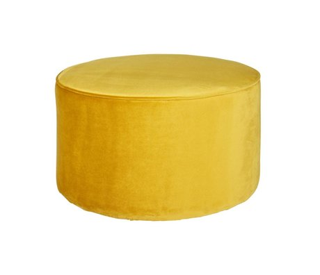 LEF collections Pouf sara low ocher yellow velvet polyester 60x36cm
