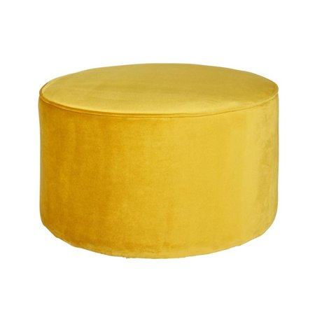 LEF collections Pouf sara bas velours jaune ocre polyester 60x36cm