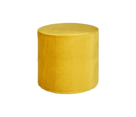 LEF collections Pouf sara high ocher yellow velvet polyester 46x46cm