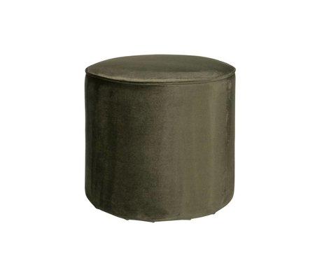LEF collections Puff sara hoch warm grün Samt Polyester 46x46cm