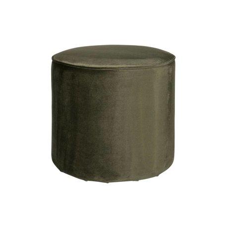 LEF collections Poef sara hoog warm groen fluweel polyester 46x46cm