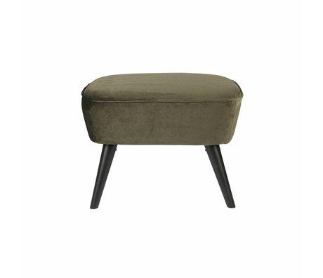 LEF collections Hocker op poten warm groen fluweel polyester 36x56x41cm