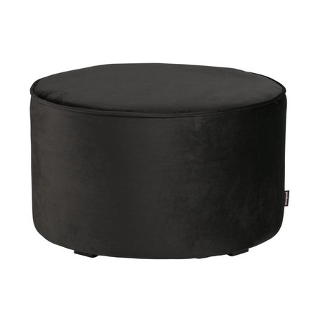 LEF collections Pouf sara low anthracite gray velvet polyester Ø60x36cm