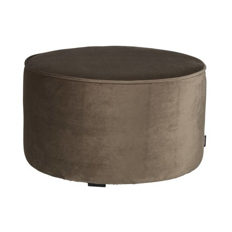 LEF collections Pouf sara low olive gold velvet polyester Ø60x36cm
