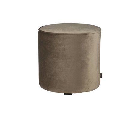 LEF collections Pouf sara high olive gold velvet polyester 46x46cm