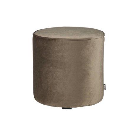 LEF collections Pouf sara haute velours polyester doré olive 46x46cm