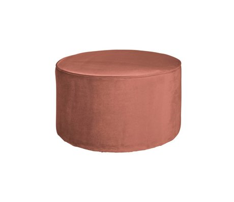LEF collections Pouf sara layer old pink velvet polyester Ø60x36cm