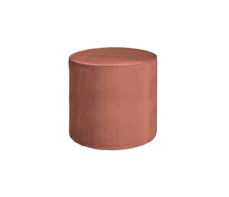 LEF collections Poef sara hoog oud roze fluweel polyester 46x46cm