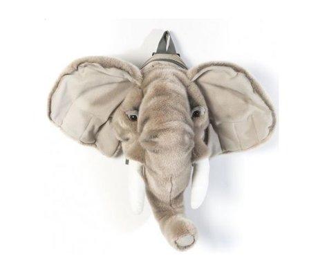 Wild and Soft Sac à dos éléphant gris textile 16x52x36cm