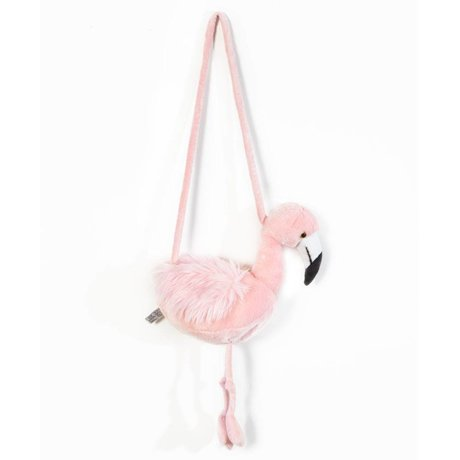Wild and Soft Schoudertasje Flamingo roze textiel 30x12x45cm