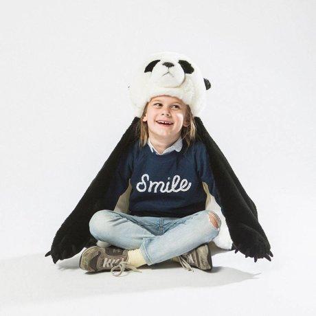 Wild and Soft Déguisement Panda blanc textile noir 94x117x20cm