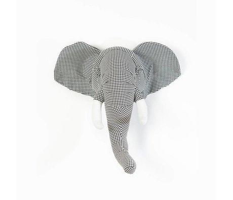 Wild and Soft Tête d'animal Abstrait éléphant Andrew textile pied-de-poule 45x60x24cm