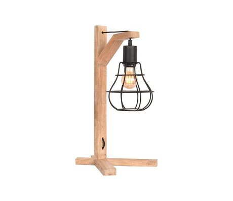 LEF collections Table lamp Drop black natural metal wood 29x34x53cm