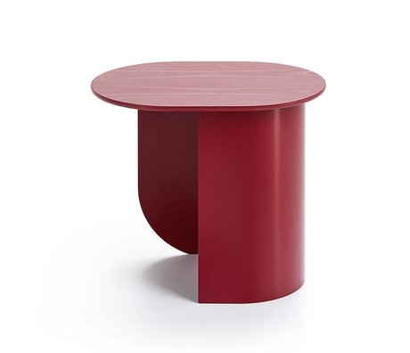 FÉST Sidetable Plateau wijn rood hout metaal 44x32x40cm