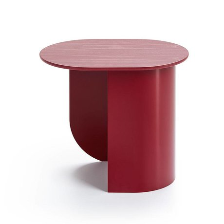 FÉST Sidetable Plateau wine red wood metal 44x32x40cm