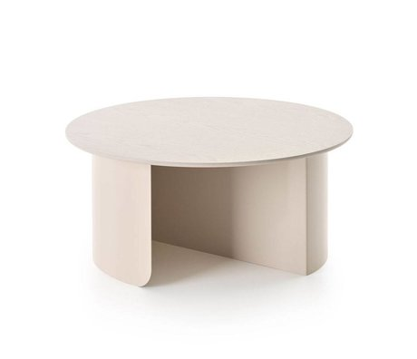 FÉST Coffee table Plateau sand brown wood metal Ø72x32cm